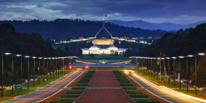 Parliament house in Canberra Australia at night